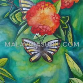 BUTTERFLY ON THE FLOWER_WATER COLOUR